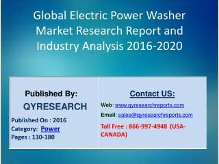 Global Electric Power Washer Market 2016 Industry Analysis, Research, Trends, Growth and Forecasts