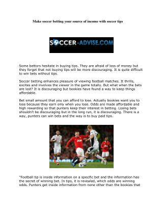 Make soccer betting your source of income with soccer tips