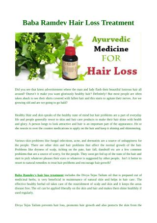 Baba Ramdev Hair Loss Treatment