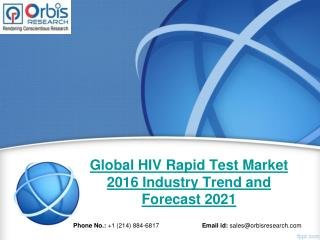 Orbis Research: Global HIV Rapid Test Industry Report 2016