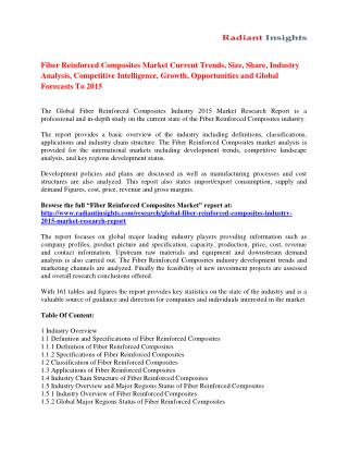 Fiber Reinforced Composites Market Analysis, Size, Share, Growth, Trends And Forecast To 2015