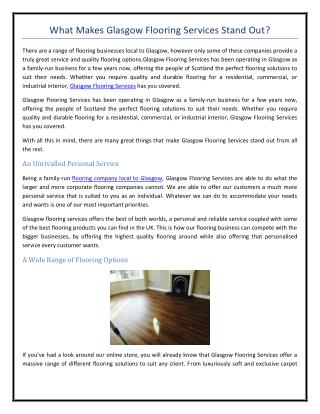 What Makes Glasgow Flooring Services Stand Out?