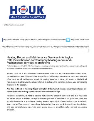 Heating Repair and Maintenance Services in Arlington