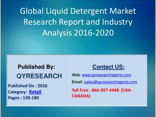 Global Liquid Detergent Market 2016 Industry Analysis, Research, Growth, Trends and Overview