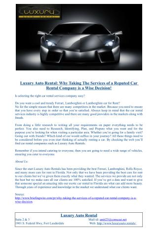 Luxury Auto Rental: Why Taking The Services of a Reputed Car Rental Company a Wise Decision!