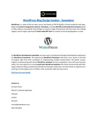 WordPress Blog Design london - Sowedane