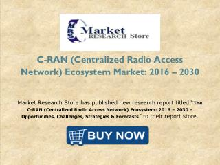 Global C-RAN (Centralized Radio Access Network) Ecosystem Market 2016 Forecast to Industry Size, Shares, Strategies, Tre