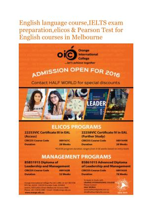 English language course,IELTS exam preparation,elicos & Pearson Test for English courses in Melbourne