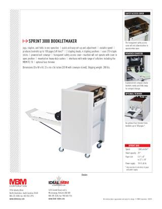 MBM Sprint 3000 Booklet Maker at US$ 6,749.00 - Printfinish.com
