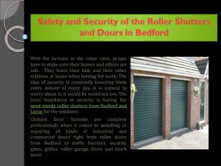 Safety and Security of the Roller Shutters and Doors in Bedford