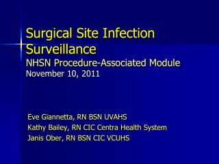 Surgical Site Infection  Surveillance NHSN Procedure-Associated Module November 10, 2011