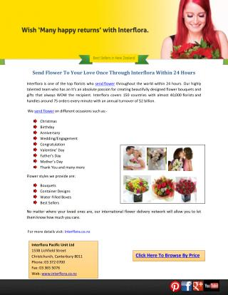 Send Flower To Your Love Once Through Interflora Within 24 Hours