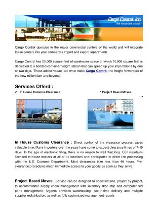 International Cargo Logistics Services