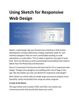 Using Sketch for Responsive Web Design