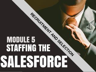 STAFFING THE SALESFORCE: RECRUITMENT AND SELECTION
