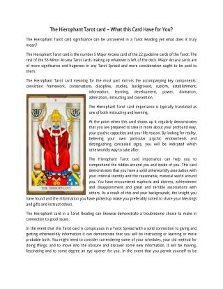 Know about The Hierophant, Tarot Card Reading Courses