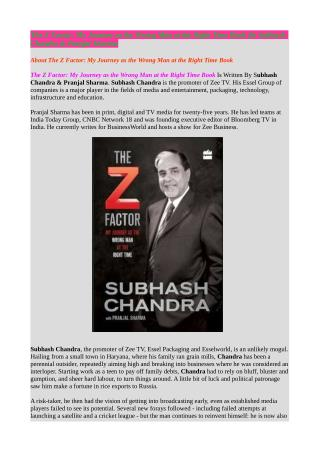 Buy The Z Factor: My Journey as the Wrong Man at the Right Time Online in India
