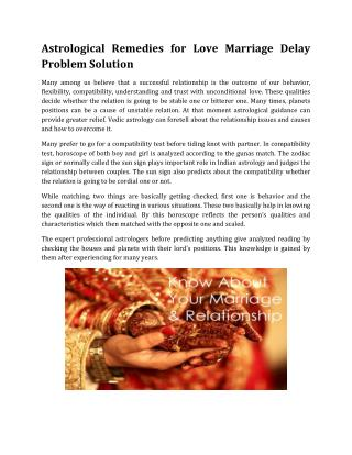 Astrological Remedies for Love Marriage Delay Problem Solution