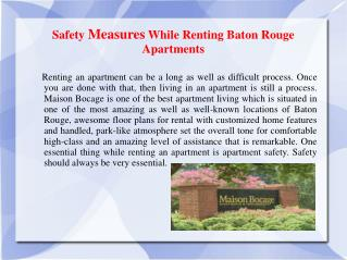 Safety Measures While Renting Baton Rouge Apartments