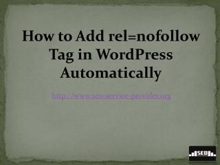 How to Add rel=nofollow Tag in Wordpress Automatically