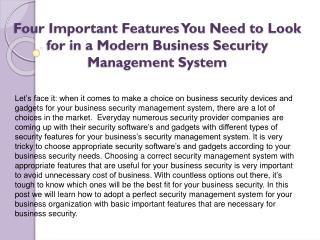 Four Important Features You Need to Look for in a Modern Business Security Management System