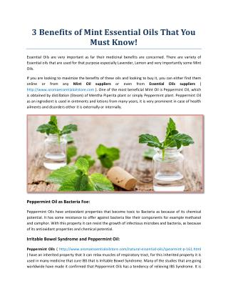 3 Benefits of Mint Essential Oils That You Must Know!