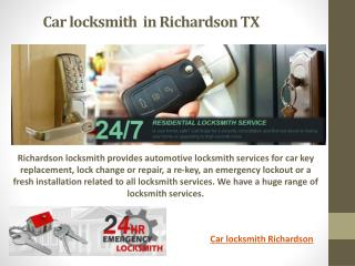 Car locksmith Richardson TX