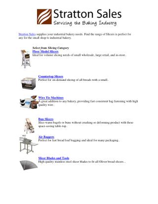 Bakery Slicers | Stratton Sales