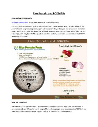 Rice Protein and FODMAPs