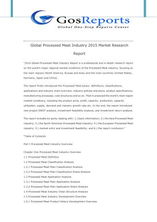 Global Processed Meat Industry 2015 Market Research Report