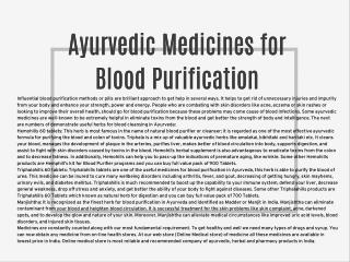 Ayurvedic Medicines for Blood Purification