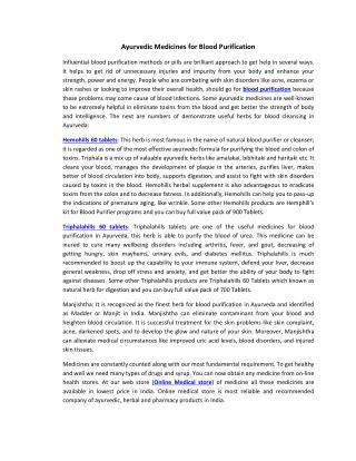 Ayurvedic Medicines for Blood Purification