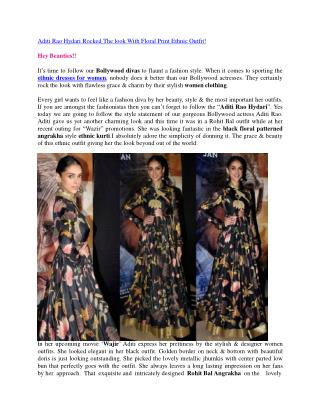 Aditi Rao Hydari Rocked The look With Floral Print Ethnic Outfit!