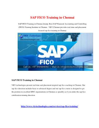 SAP FICO Training in Chennai