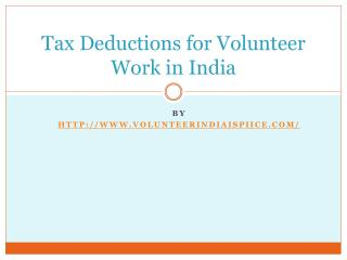Tax Deductions for Volunteer Work in India