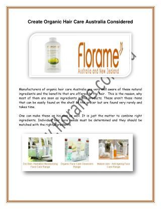 Create Organic Hair Care Australia Considered