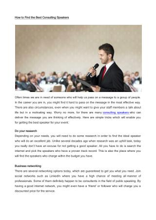 How to Find the Best Consulting Speakers