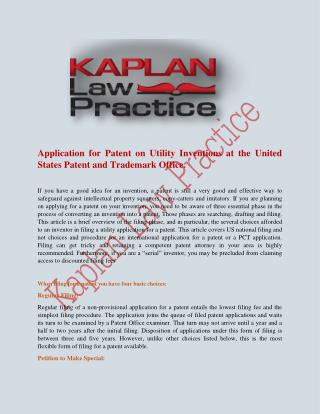 Application for Patent on Utility Inventions at the United States Patent and Trademark Office