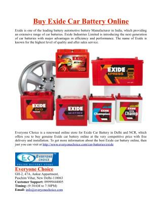Buy Exide Car Battery Online