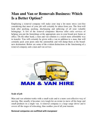 Man and Van or Removals Business