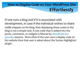 How to Display Code on Your WordPress Site Effortlessly