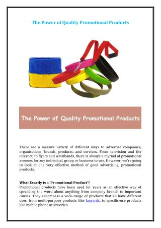 The Power of Quality Promotional Products