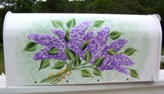 Hand Painted Mailbox, Lilac Bouquet