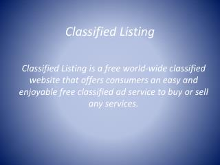 Classified Listing