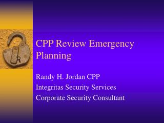 CPP Review Emergency Planning