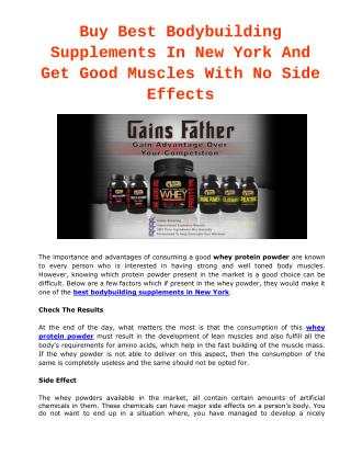 Buy Best Bodybuilding Supplements In New York And Get Good Muscles With No Side Effects