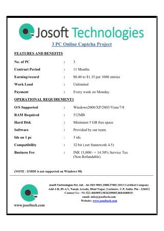 Now get online captcha project at home- JOSOFT TECHNOLOGIES PVT LTD