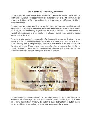 Why to Follow Vastu Science for any Construction?