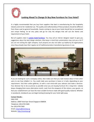 Looking Ahead To Change Or Buy New Furniture For Your Hotel?