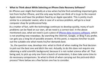 What to Think about While Selecting an iPhone Data Recovery Software